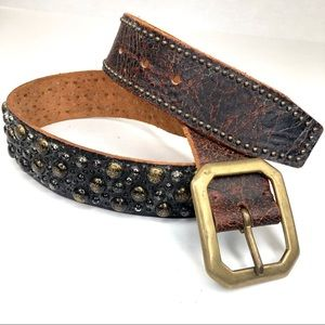 Streets Ahead Brown Leather Studded Belt G112